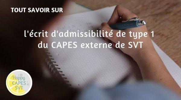 CAPES SVT : l'écrit d'admissibilité de type 1