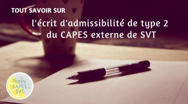 CAPES SVT : l'écrit d'admissibilité de type 2